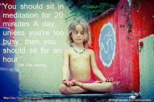 You should sit in meditation for 20 minutes a day. Unless your too busy then you should sit for an hour.